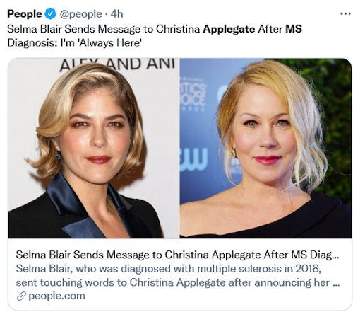 """A tweet from People: """"Selma Blair Send Message to Christina Applegate After MS Diagnosis: 'I'm always here'"""""""