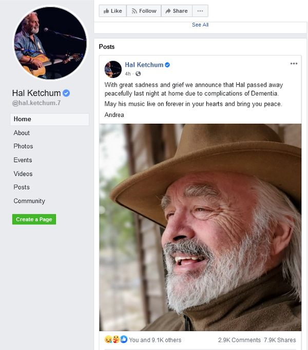Facebook announcement that Hal Ketchum has passed.