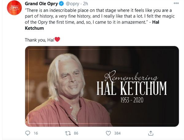 Grand Ole Opry offering their condolences.