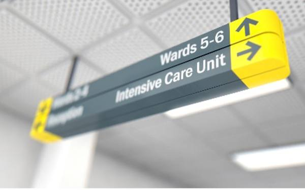 Intensive care unit sign.