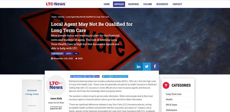 Image of LTC News site.